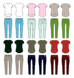 Set of women's clothes stock illustration