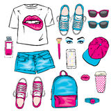 A set of women`s clothes. Teenage style. T-shirt with print in the form of lips, backpack, sneakers, watch, smartphone, cap, short. S and perfume bottles. Vector royalty free illustration