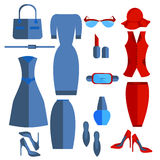Set  women's clothing and accessories Stock Photo