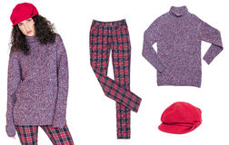 Set of women's clothing for autumn and spring season Stock Photos