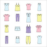 Set of women's clothing. Women's clothes for home. Women's clothes for home. set of women's clothing Stock Photo