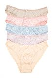 The set of women's cotton panties that lie in a row Stock Photography