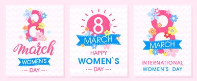 Set of Women`s Day creative cards. With ribbons and different flowers .Seasons greetings cards perfect for prints,flyers,posters,holiday invitations and more Stock Image