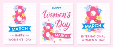 Set of Women`s Day creative cards. With ribbons and different flowers . Seasons greetings cards perfect for prints, flyers, posters, holiday invitations and Vector Illustration