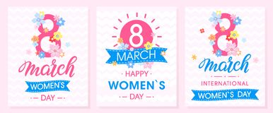 Set of Women`s Day creative cards. With ribbons and different flowers .Seasons greetings cards perfect for prints,flyers,posters,holiday invitations and more Stock Illustration