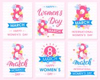 Set of Women`s Day creative cards. With ribbons and different flowers .Seasons greetings cards perfect for prints,flyers,posters,holiday invitations and more Vector Illustration