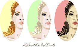 Set of women's faces. Set of vector pretty women's faces stock illustration
