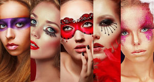 Set of Women's Faces with Bright Make Up Stock Images