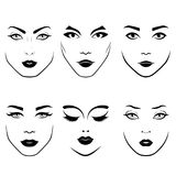Set of women`s faces. Stylized set of fashionable women`s faces with distinctive eyes and lips, vector as face care Vector Illustration