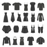 Set of women's & men's clothing. Stock Photo