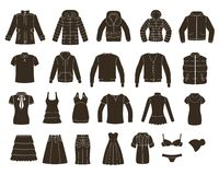 Set of women's and men's clothing. Royalty Free Stock Image