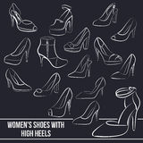 Set of women's shoes with high heels, painted Royalty Free Stock Photography