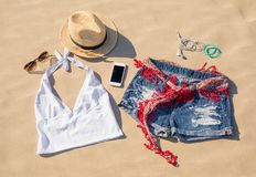 Set of women`s summer clothes royalty free stock image