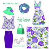 Set of women`s summer fashion items and seamless pattern of blue and lilac flowers on white background stock illustration