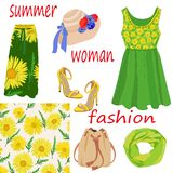 Set of women`s summer fashion items and seamless pattern of bright yellow colors on white background royalty free illustration