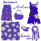 A set of women`s summer fashion items and a seamless pattern of daisies on a blue background stock illustration