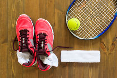 Set for women's tennis. Set for sports lawn tennis, On the floor Stock Photo