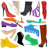 Set of women shoes in flat style Stock Photo