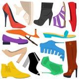 Set of women shoes in flat style. Set of spring and summer women shoes in flat style isolated on white. Fashion design, elegance, femininity. Vector illustration Stock Photo