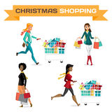 Set of women with shopping bags on Black Friday Royalty Free Stock Image