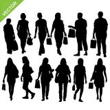 Women shopping silhouette vector Royalty Free Stock Images