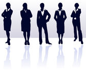Business women silhouettes office lady female businesswoman young woman silhouette vector people isolated black meeting working Stock Photos