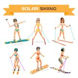 Set of women skiing in a bikini at the end of the winter resort Royalty Free Stock Photography