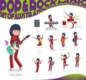 A set of women in sportswear playing rock `n ` roll and pop music.There are also various instruments such as ukulele and tambouri. Ne.It`s vector art so it`s vector illustration