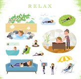 A set of women in sportswear about relaxing.There are actions such as vacation and stress relief.It`s vector art so it`s easy to. Edit stock illustration