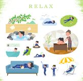 A set of women in sportswear about relaxing.There are actions such as vacation and stress relief.It`s vector art so it`s easy to. Edit royalty free illustration