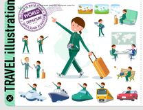 A set of women in sportswear on travel.There are also vehicles such as boats and airplanes.It`s vector art so it`s easy to edit royalty free illustration