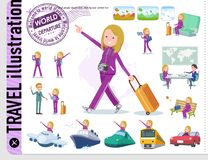 A set of women in sportswear on travel.There are also vehicles such as boats and airplanes.It`s vector art so it`s easy to edit stock illustration