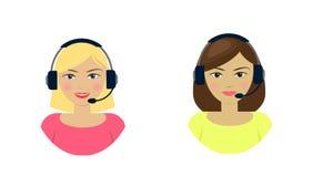 Set of women telemarketer, call center operator, hot line, online support Stock Photos