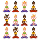 Set women yoga. Vector illustration. woman meditating Royalty Free Stock Photography