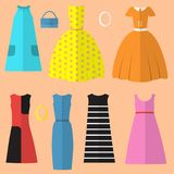 Set of womens clothing and accessories in the sixties style Royalty Free Stock Photos