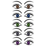 Set of womens eyes. Set of beautiful women eyes in different colors Stock Illustration