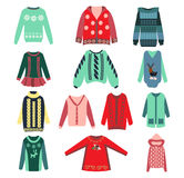Set of womens knitted sweaters Royalty Free Stock Photos
