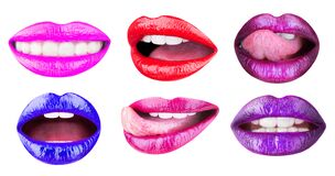 Set of womens lips with glossy lipsticks. Multicolored lip, tongue sexy. Colored lip, lipstick or lipgloss, sexy
