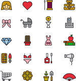 Set of Womens Objects Icons or Symbols. Set of cute simple icons with objects related to girls or women Stock Photo
