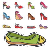 Set of womens shoes flat design vector hand drawn style of leather colored moccasins heel shoe illustration. Royalty Free Stock Photos