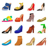 Set of womens shoes flat design vector. Stock Photo