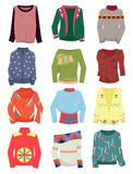 A set of womens sweaters. A set of womens autumn and winter sweaters isolated on a white background Royalty Free Stock Images