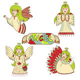 Set of wonderful colorful angels. Stock Photography
