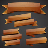 Set of wood banners Royalty Free Stock Photos