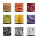 Set of Wood Buttons Stock Photography