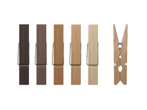 Set of Wood Clothespins Pegs Colored on Background Royalty Free Stock Photo