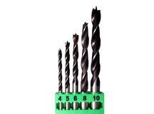 Set of wood drill bits Royalty Free Stock Photo
