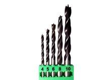 Set of wood drill bits royalty free stock photo