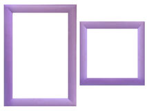 Set of wood frames. Set of violet wood frames isolated over white background Stock Photography