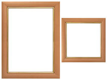 Set of wood frames. Isolated over white background Stock Photos